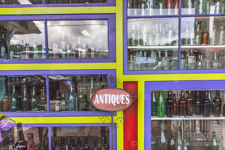 Antique bottles displayed at Glass From the Past Antique Store in Honomu, Big Island.