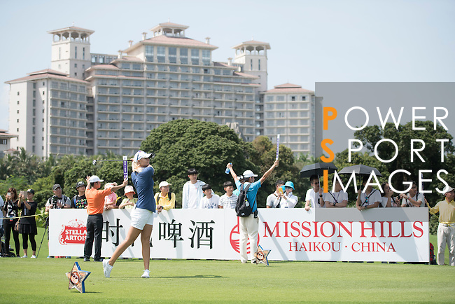 Anna Nordqvist tees off the 10th hole during the World Celebrity Pro-Am 2016 Mission Hills China Golf Tournament on 22 October 2016, in Haikou, China. Photo by Weixiang Lim / Power Sport Images