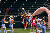 Houston Dash goalkeeper Lydia Williams (18) punches the ball clear during 2-2 tie with Western New York Flash