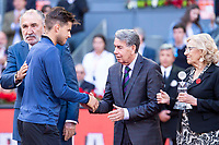 Austrian Dominic Thiem and Manolo Santana during Finals of Mutua Madrid Open at Caja Magica in Madrid, Spain. May 13, 2018. (ALTERPHOTOS/Borja B.Hojas)