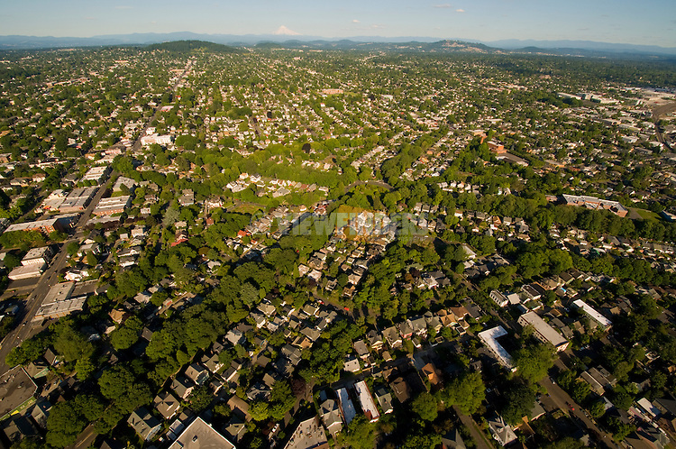 Aerial View of Ladd's Addition Neighborhood, SE Portland, Oregon