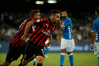 Giacomo Bonaventura celebrates after scoring during the  italian serie a soccer match,  SSC Napoli - Milan      at  the San  Paolo   stadium in Naples  Italy , August 25, 2018