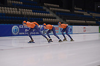 SPEEDSKATING: 06-12-2018, Tomaszów Mazowiecki (POL), ISU World Cup Arena Lodowa, Jorrit Bergsma, Kars Jansman, Simon Schouten, ©photo Martin de Jong