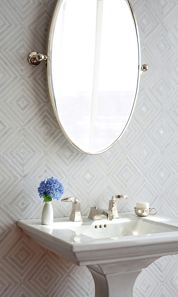 Bryce, a handmade mosaic shown in honed Paperwhite, tumbled Thassos and Shell, is part of The Studio Line of Ready to Ship mosaics.