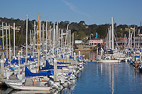 Monterey, CA<br /> Monterey harbor with docks of sail boats