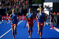 Netherlands' Margot van Geffen, Laurien Leurink and Sanne Koolen warming up<br /> <br /> Photographer Hannah Fountain/CameraSport<br /> <br /> Vitality Hockey Women's World Cup - Netherlands v Ireland - Sunday 5th August 2018 - Lee Valley Hockey and Tennis Centre - Stratford<br /> <br /> World Copyright &copy; 2018 CameraSport. All rights reserved. 43 Linden Ave. Countesthorpe. Leicester. England. LE8 5PG - Tel: +44 (0) 116 277 4147 - admin@camerasport.com - www.camerasport.com