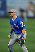 Gavin Lux (55) of the Oklahoma City Dodgers on defense against the Salt Lake Bees at Smith's Ballpark on July 31, 2019 in Salt Lake City, Utah. The Dodgers defeated the Bees 5-3. (Stephen Smith/Four Seam Images)