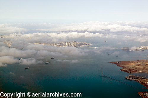 aerial photograph fog San Francisco, California
