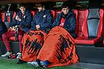 08.11.2018, BayArena, Leverkusen, Europaleque, Vorrunde, GER, UEFA EL, Bayer 04 Leverkusen (GER) vs. FC Zuerich (SUI),<br />  <br /> DFL regulations prohibit any use of photographs as image sequences and/or quasi-video<br /> <br /> im Bild / picture shows: <br /> Leverkusener Bank v. r. Kai Havertz (Leverkusen #29),  Kevin Volland (Leverkusen #31), Lars Bender (Leverkusen #8), <br /> <br /> Foto &copy; nordphoto / Meuter<br /> <br /> <br /> <br /> Foto &copy; nordphoto / Meuter