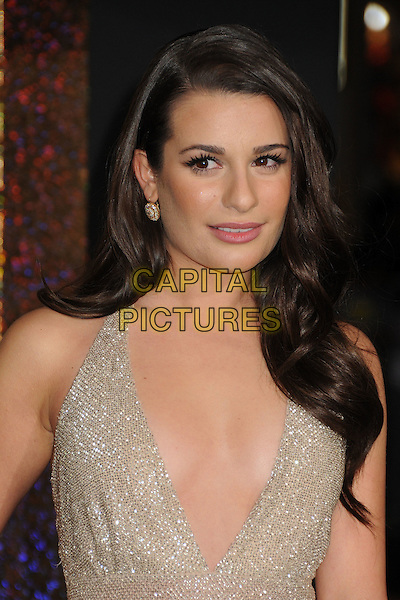 Lea Michele.'New Year's Eve' Los Angeles premiere at  Grauman's Chinese Theatre, Hollywood, California, USA..5th December 2011.headshot portrait beige gold sparkly halterneck plunging neckline cleavage  .CAP/ADM/BP.©Byron Purvis/AdMedia/Capital Pictures.