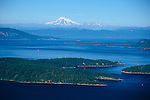 San Juan County, WA<br /> Aerial  view of the San Juan Islands with Mount Baker on the horizon