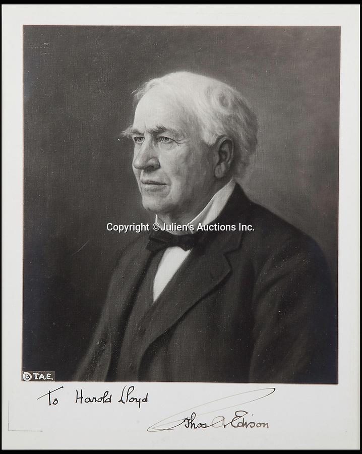 """BNPS.co.uk (01202 558833)<br /> Pic: JuliensAuctions/BNPS<br /> <br /> """"The Wizard of Menlo Park"""", Thomas Edison, lloyds gallery was not just confined to movie stars.<br /> <br /> The Rogues Gallery - Unique Who's who from the halcyon days of Hollywood, collected by one of their own, comedian Harold Lloyd.<br /> <br /> The silent movie actor asked his silver screen chums to send him their best loved publicity shots one Xmas, so he could create a 'Rogues Gallery' at his Hollywood mansion.<br /> <br /> The unique collection reveals tinsel town as it preferred to see itself in its most glamourous era between the wars."""
