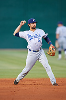 Pensacola Blue Wahoos shortstop Alex Blandino (5) throws to first base during a game against the Mobile BayBears on April 25, 2017 at Hank Aaron Stadium in Mobile, Alabama.  Mobile defeated Pensacola 3-0.  (Mike Janes/Four Seam Images)