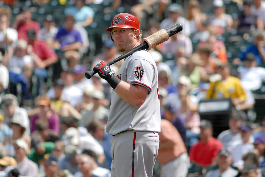 14 August 08: DBacks outfielder Adam Dunn waits in the on deck circle during a game against the Colorado Rockies. The Arizona Diamondbacks defeated the Colorado Rockies 6-2 at Coors Field in Denver, Colorado. FOR EDITORIAL USE ONLY. FOR EDITORIAL USE ONLY