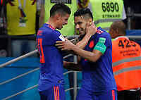 KAZAN - RUSIA, 24-06-2018: Radamel FALCAO jugador de Colombia celebra con James RODRIGUEZ después de anotar un gol a Polonia durante partido de la primera fase, Grupo H, por la Copa Mundial de la FIFA Rusia 2018 jugado en el estadio Kazan Arena en Kazán, Rusia. /  Radamel FALCAO player of Colombia celebrates with James RODRIGUEZ after scoring a goal to Polonia during match of the first phase, Group H, for the FIFA World Cup Russia 2018 played at Kazan Arena stadium in Kazan, Russia. Photo: VizzorImage / Julian Medina / Cont