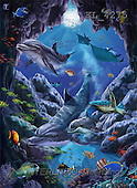Interlitho, Lorenzo, REALISTIC ANIMALS, paintings, blue cave, dolphins(KL4275,#A#) realistische Tiere, realista, illustrations, pinturas ,puzzles