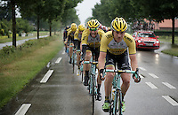 Rick Flens (NLD/LottoNL-Jumbo) leads the LottoNL-Jumbo train in the pouring rain in front of the peloton as teammate Robert Wagner (DEU/LottoNL-Jumbo) is drinking rain (or trying to make something clear to me...)<br /> <br /> stage 5: Eindhoven - Boxtel (183km)<br /> 29th Ster ZLM Tour 2015