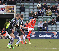 Alan Sheehan of Luton Town clears the ball from danger during the Sky Bet League 2 match between Plymouth Argyle and Luton Town at Home Park, Plymouth, England on 19 March 2016. Photo by Liam Smith.