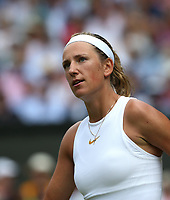Victoria Azarenka (BLR) during her match against Karolina Pliskova (CZE)<br /> <br /> Photographer Rob Newell/CameraSport<br /> <br /> Wimbledon Lawn Tennis Championships - Day 3 - Wednesday 4th July 2018 -  All England Lawn Tennis and Croquet Club - Wimbledon - London - England<br /> <br /> World Copyright &not;&uml;&not;&copy; 2017 CameraSport. All rights reserved. 43 Linden Ave. Countesthorpe. Leicester. England. LE8 5PG - Tel: +44 (0) 116 277 4147 - admin@camerasport.com - www.camerasport.com