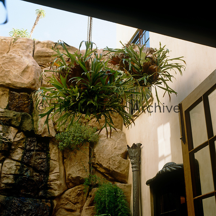 A hanging basket of exotic ferns is seen against the rocky waterfall of the patio