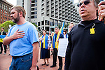 The crowd sang to the the Ukrainian anthem at the Ukranian rally in Justin Herman Plaza, in San Francisco, California on Sunday, March 9th, 2014.  Photo/Victoria Sheridan