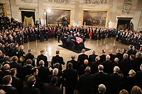 The casket of former President George H.W. Bush arrives to lies in state in the U.S. Capitol Rotunda during services on Capitol Hill in Washington, U.S., December 3, 2018. <br /> CAP/MPI/RS<br /> &copy;RS/MPI/Capital Pictures
