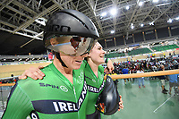 Picture by Alex Whitehead/SWpix.com - 23/03/2018 - Cycling - 2018 UCI Para-Cycling Track World Championships - Rio de Janeiro Municipal Velodrome, Barra da Tijuca, Brazil - Katie-George Dunlevy piloted by Eve McCrystal of Ireland win Bronze in the Women's B 3km Pursuit final.