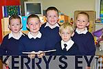 LESSONS: Ru de Burgh, Oisin O'Sullivan, Padraig O'Sullivan, Michael O'Leary and Joshua O'Sullivan enjoying their first lessons on their week of school at Barraduff National School.   Copyright Kerry's Eye 2008