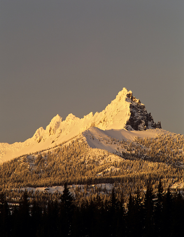 Three Fingered Jack mountain after snowstorm. Oregon.