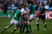 16th March 2018, Ricoh Arena, Coventry, England; Womens Six Nations Rugby, England Women versus Ireland Women; Sarah Hunter of England is tackled by Ciara Griffin of Ireland