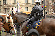 December 7, 2011  (Washington, DC)  A mounted officer of the DC Metropolitan Police Department stands by as OccupyDC protesters block a busy downtown DC street.   (Photo by Don Baxter/Media Images International)