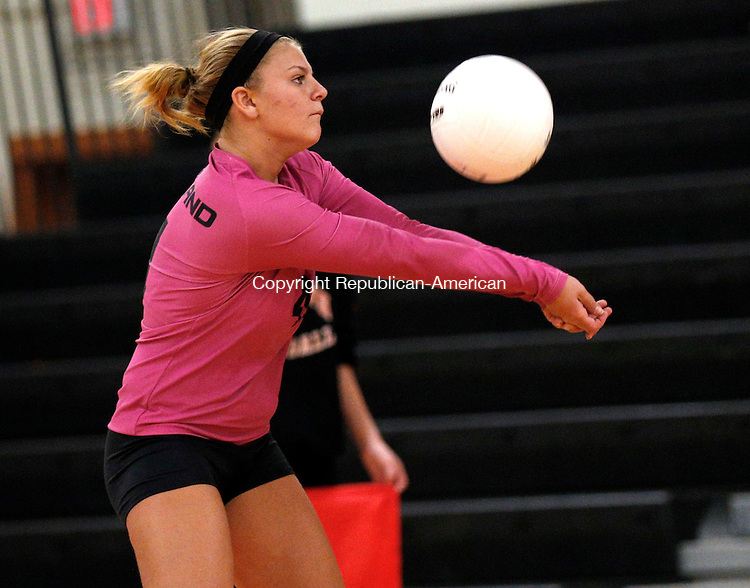 Watertown, CT- 28 October 2015-102815CM01-  Woodland's Cameron Caswell bumps the ball during their NVL matchup against Watertown on Wednesday.     Christopher Massa Republican-American