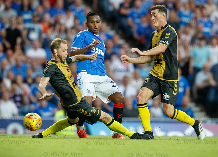 25.07.2019 Rangers v Progres Niederkorn: Alfredo Morelos with Tom Laterza and Ben Vogel