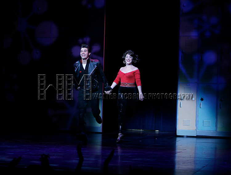 Derek Keeling & Anna Aimee White take bows as American Idol Heartthrob Ace Young makes his Broadway Debut in the Broadway Revival of GREASE at the Brooks Atkinson Theatre in New York City.<br />September 11, 2008