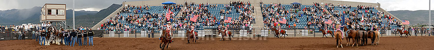 Trent Nelson  |  The Salt Lake Tribune<br /> national anthem at the Utah High School Rodeo Association state championships in Heber, Saturday June 6, 2015.