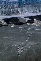 Hummingbird shape in aerials of the Nazca lines which are only visible from the air and form perfect geometric designs such as triangles and rectangles and straight lines running for several kilometers across the desert. There is no proof but the most popular thought is that they were made by the Nazca and Paracas cultures during the period between 900 BC and 600 AD.  Maria Reiche, a German mathematician who spent much of her life studying the lines considers the lines to be an astronomical calendar for agricultural purposes.  They are made by exposing lighter colored soil when sun-baked stones were moved and piled up.
