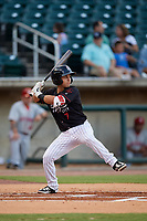 Birmingham Barons Nick Madrigal  (7) at bat during a Southern League game against the Chattanooga Lookouts on July 24, 2019 at Regions Field in Birmingham, Alabama.  Chattanooga defeated Birmingham 9-1.  (Mike Janes/Four Seam Images)