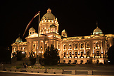 SERBIA, Belgrade, The National Assembly Building of Serbia at night, Eastern Europe
