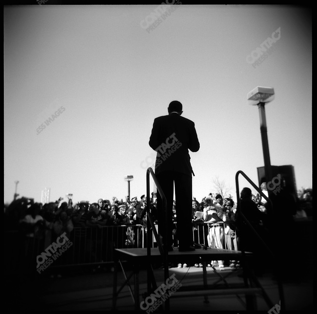 Senator Barack Obama, Democratic nominee for President, speaking to the overflow crowd at a rally in Roanoke, Virginia, October 17, 2008
