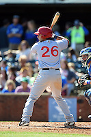 Hagerstown Suns designated hitter Carlos Lopez (26) at bat during a game against the Lexington Legends on May 19, 2014 at Whitaker Bank Ballpark in Lexington, Kentucky.  Lexington defeated Hagerstown 10-8.  (Mike Janes/Four Seam Images)
