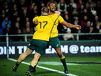 Tom Robertson congratulates Kurtley Beale on his try during the Rugby Championship and Bledisloe Cup rugby match between the New Zealand All Blacks and Australia Wallabies at Forsyth Barr Stadium in Dunedin, New Zealand on Saturday, 26 August 2017. Photo: Dave Lintott / lintottphoto.co.nz