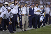 08 September 2007:  Penn State WRs coach Mike McQuery and head coach Joe Paterno.  The Penn State Nittany Lions defeated the Notre Dame Fighting Irish 31-10 September 8, 2007 at Beaver Stadium in State College, PA..