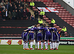 Sheffield Utd team huddle during the championship match at the Oakwell Stadium, Barnsley. Picture date 7th April 2018. Picture credit should read: Simon Bellis/Sportimage