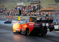 Jul 21, 2017; Morrison, CO, USA; NHRA funny car driver Todd Simpson during qualifying for the Mile High Nationals at Bandimere Speedway. Mandatory Credit: Mark J. Rebilas-USA TODAY Sports