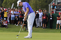 Matthew Fitzpatrick (ENG) takes his birdie putt on the 18th green during Sunday's Final Round 4 of the 2018 Omega European Masters, held at the Golf Club Crans-Sur-Sierre, Crans Montana, Switzerland. 9th September 2018.<br /> Picture: Eoin Clarke | Golffile<br /> <br /> <br /> All photos usage must carry mandatory copyright credit (© Golffile | Eoin Clarke)
