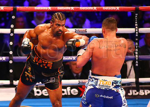 March 4th 2017, O2 Arena, London England; Heavyweight Boxing David Haye versus Tony Bellew; David Haye misses Tony Bellew with a left hook, during the Heavyweight contest