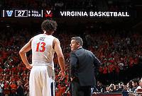 Virginia head coach Tony Bennett talks with Virginia forward Anthony Gill (13) during the game Dec. 19, 2015 in Charlottesville, Va. Virginia defeated Villanova 86-75. Photo/Andrew Shurtleff