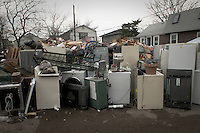 Damaged by the flood furniture stored in front of one of the 80 houses destroyed by Hurricane Sandy in Breezy Point, NY.