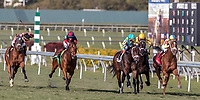 HALLANDALE BEACH, FL - JAN 06: Flameaway #1 with Julien Leparoux in the irons with a slight lead approaching the finishing line on the way to winning The $100,000 Kitten's Joy Stakes for trainer Mark E. Casse at Gulfstream Park on January 6, 2018 in Hallandale Beach, Florida. (Photo by Bob Aaron/Eclipse Sportswire/Getty Images)