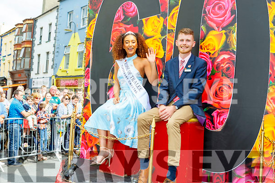 Kristen Mate Maher (2018 Rose of Tralee) with her escort Ian O'Boyle at the Rose parade on Sunday..